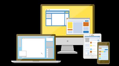 パソコンとタブレットとスマホの画像
